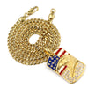 316L Stainless Blinged American Eagle Dog Tag Pendant w/ 4mm Miami Cuban Chain - Raonhazae