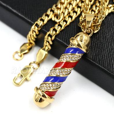 316L Stainless Blinged Out Barber Shop Chop Chop Pendant w 4mm Miami Cuban Chain - Raonhazae