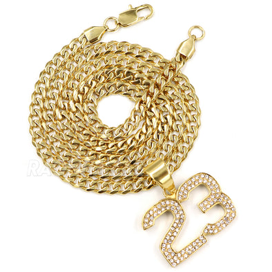 316L Stainless Blinged Out Number 23 Charm Pendant w/ 4mm Miami Cuban Chain - Raonhazae