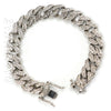 Raonhazae Hip Hop Iced Lab Diamond White Gold Watch Cuban Link Bracelet Set - Raonhazae