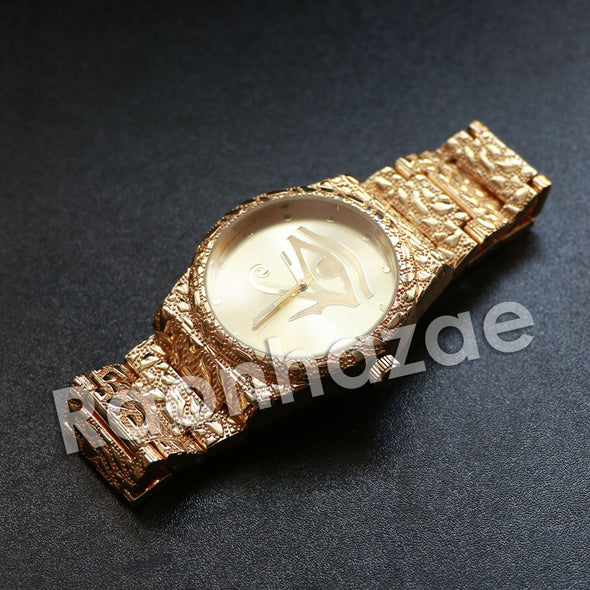 "Hip Hop ""Eye of Horus"" Gold Face Gold Nugget Watch - Raonhazae"