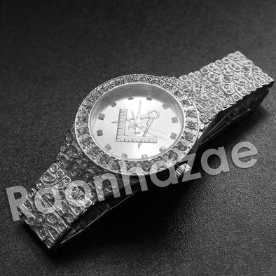 Hip Hop Freemason Silver Nugget Watch - Raonhazae