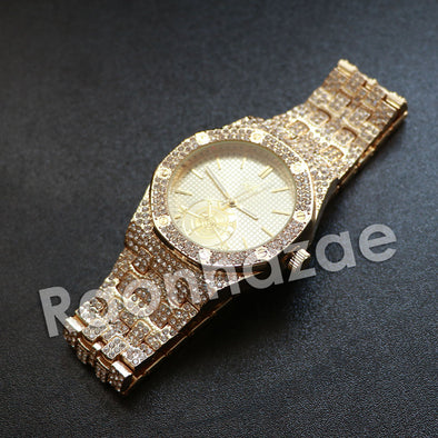 Hip Hop Gold Techno Pave Gold Wrist Watch - Raonhazae