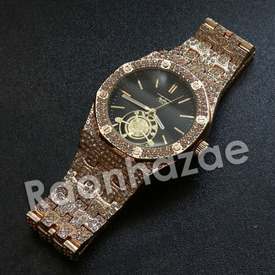 Hip Hop Gold Techno Pave Dark Face Wrist Watch - Raonhazae