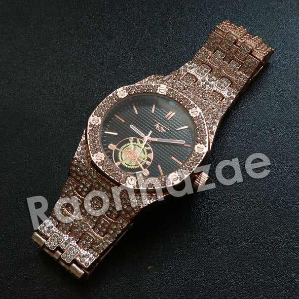 Hip Hop Rose Gold Techno Pave Dark Face Wrist Watch - Raonhazae