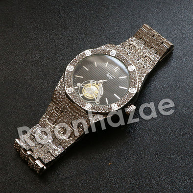Hip Hop Silver Techno Pave Dark Face Wrist Watch - Raonhazae