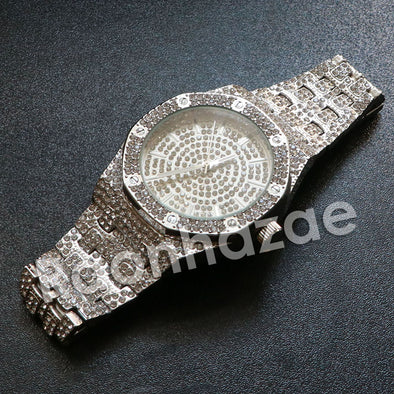 "Hip Hop ""Life is Good"" Silver Techno Pave Wrist Watch - Raonhazae"