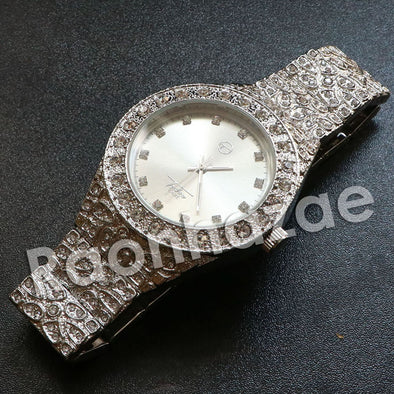 "Hip Hop ""Dynamic Duo"" Silver Techno Pave Nugget Watch - Raonhazae"