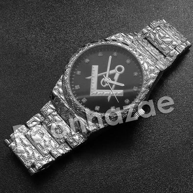 Hip Hop Freemason Silver Nugget Watch (Dark Face) - Raonhazae