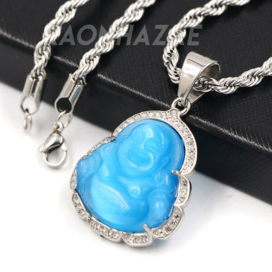 Stainless Steel Silver Smiling Chubby Buddha Pendant 4mm w/ Rope Chain (Blue Jade)