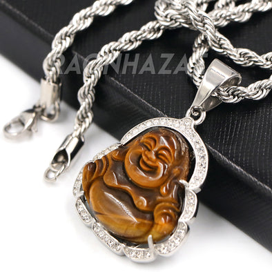 Stainless Steel Silver Smiling Chubby Buddha Pendant 4mm w/ Rope Chain (Brown Jade)