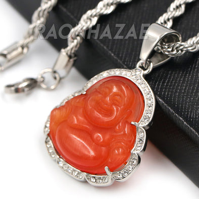 Stainless Steel Silver Smiling Chubby Buddha Pendant 4mm w/ Rope Chain (Red Jade) - Raonhazae