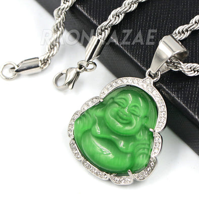 Stainless Steel Silver Smiling Chubby Buddha Pendant 4mm w/ Rope Chain (Green Jade)