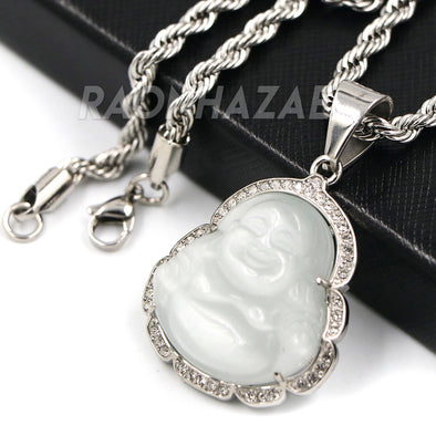 Stainless Steel Silver Smiling Chubby Buddha Pendant 4mm w/ Rope Chain (Silver Jade) - Raonhazae