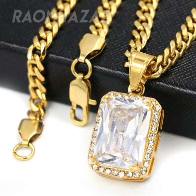 316L Stainless Steel Hip Hop Tesseract Charm Pendant w/ 5mm Miami Cuban Chain - Raonhazae
