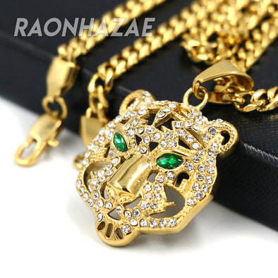 316L Solid Stainless Steel Hip Hop Drake Green Tiger Pendant w/ 5mm Miami Cuban Chain - Raonhazae
