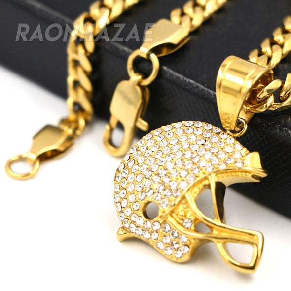 316L Solid Stainless Steel Hip Hop American Football Helmet Pendant w/ 5mm Miami Cuban Chain - Raonhazae