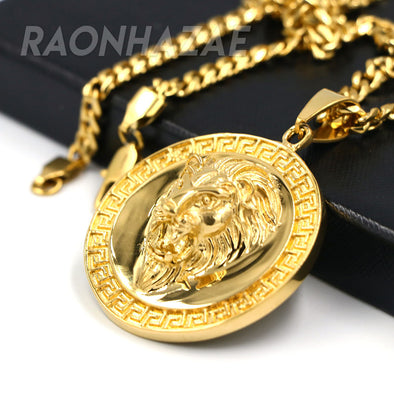 316L Solid Stainless Steel Hip Hop Medallion Tiger Pendant w/ 5mm Miami Cuban Chain - Raonhazae