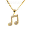 316L Solid Stainless Steel Hip Hop Musical Note Pendant w/ 5mm Miami Cuban Chain - Raonhazae