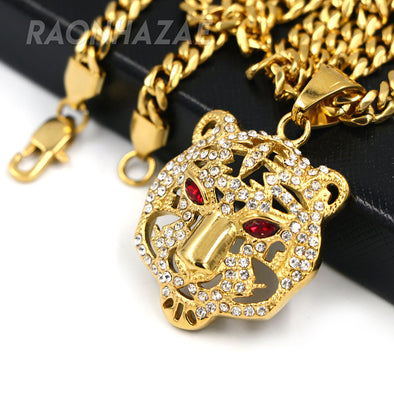 316L Solid Stainless Steel Hip Hop Drake Red Tiger Pendant w/ 5mm Miami Cuban Chain - Raonhazae