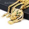 Solid Stainless Steel Hip Hop Drake Green Jaguar Pendant w/ 5mm Miami Cuban Chain