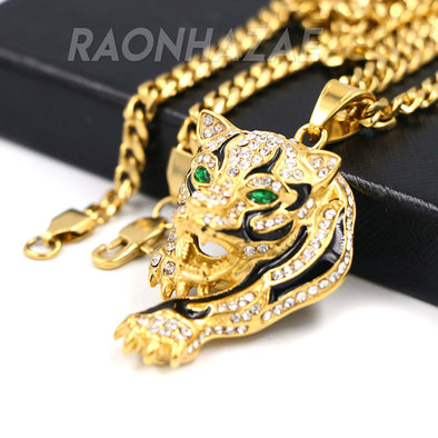 Solid Stainless Steel Hip Hop Drake Green Jaguar Pendant w/ 5mm Miami Cuban Chain - Raonhazae