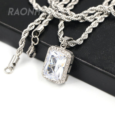 Solid Stainless Steel Hip Hop Silver Tesseract Pendant w/ 5mm Miami Cuban Chain - Raonhazae