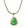Iced Gold / Silver Buddha Pendant w/ 5mm Franco Chain / BET Pendant w/ 4mm Rope Chain Set - Raonhazae