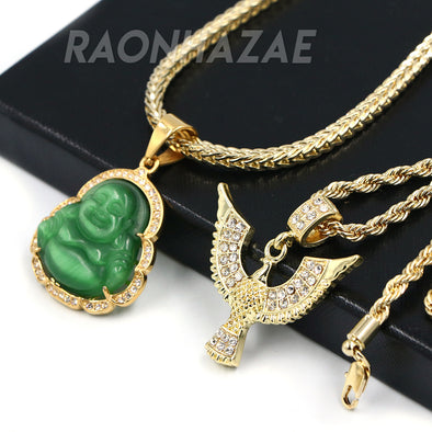 Iced Gold / Silver Buddha Pendant w/ 5mm Franco Chain / EGYPTIAN IBIS Pendant w/ 4mm Rope Chain Set - Raonhazae