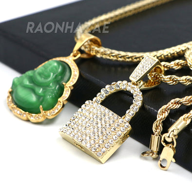 Iced Buddha Pendant w/ 5mm Franco Chain / LOCKSMITH Pendant w/ 4mm Rope Chain Set G - Raonhazae