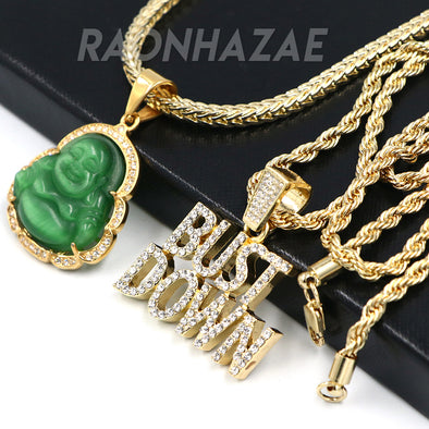 Iced Gold / Silver Buddha Pendant w/ 5mm Franco Chain / BUST DOWN Pendant w/ 4mm Rope Chain Set - Raonhazae