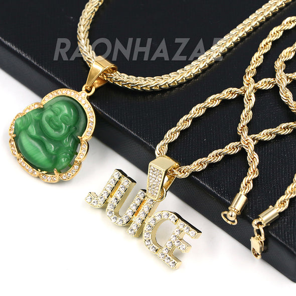 Iced Gold / Silver Buddha Pendant w/ 5mm Franco Chain / JUICE Pendant w/ 4mm Rope Chain Set - Raonhazae