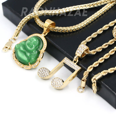 Iced Gold / Silver Buddha Pendant w/ 5mm Franco Chain / MUSICAL NOTE Pendant w/ 4mm Rope Chain Set - Raonhazae
