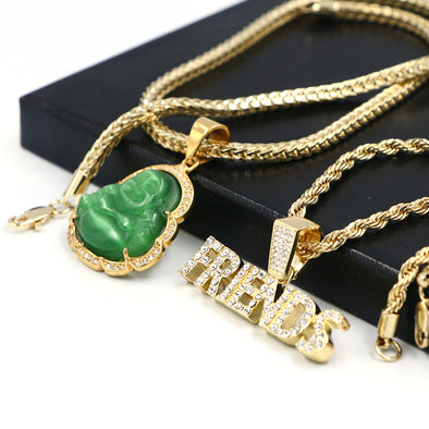 Gold / Silver Iced Buddha Pendant w/ 5mm Franco Chain / Friends Pendant w/ 4mm Rope Chain Set