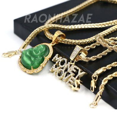 Iced Gold / Silver Buddha Pendant w/ 5mm Franco Chain / MONEY MOVES Pendant w/ 4mm Rope Chain Set - Raonhazae