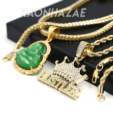 Iced Gold / Silver Buddha Pendant w/ 5mm Franco Chain / HUSTLER Pendant w/ 4mm Rope Chain Set - Raonhazae