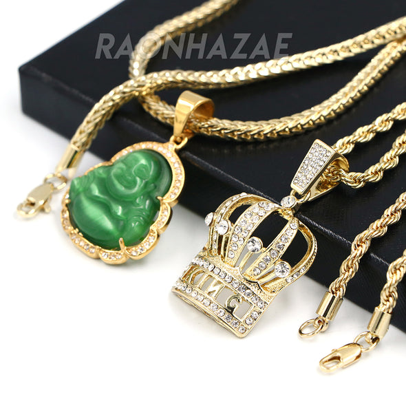 Iced Buddha Pendant w/ 5mm Franco Chain / CROWN Pendant w/ 4mm Rope Chain Set G - Raonhazae