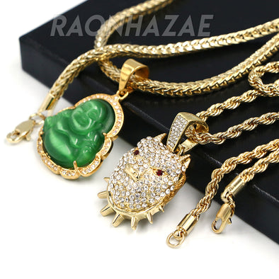 Iced Gold / Silver Buddha Pendant w/ 5mm Franco Chain / BOB CAT Pendant w/ 4mm Rope Chain Set - Raonhazae