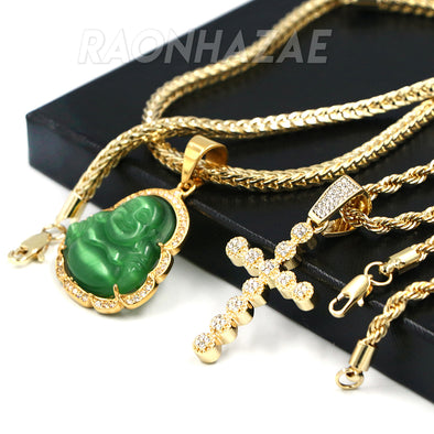 Iced Buddha Pendant w/ 5mm Franco Chain / CROSS Pendent w 4mm Rope Chain Set - Raonhazae