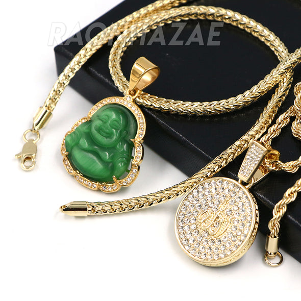 Iced Buddha Pendant w/5mm Franco Chain / MEDALLION ALLAH Pendant w/ 4mm Rope Chain Set G