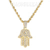Iced Gold / Silver Buddha Pendant w/ 5mm Franco Chain / Hands of Hamsa w/ 4mm Rope Chain Set - Raonhazae