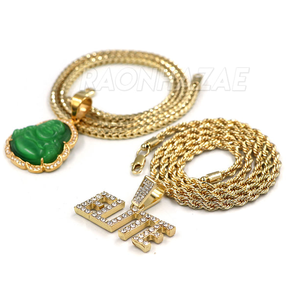 Iced Gold / Silver Buddha Pendant w/ 5mm Franco Chain / ELITE Pendant w/ 4mm Rope Chain Set - Raonhazae