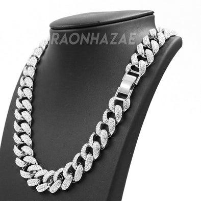"Hip Hop Fully Iced Mens 18mm Heavy Miami Cuban Chain (Multiple Sizes 9"" - 36"") SILVER - Raonhazae"