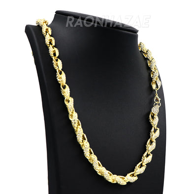 "Hip Hop Fully Iced Mens 10mm Heavy Rope Chain (Multiple Sizes 9""-36"") - Raonhazae"