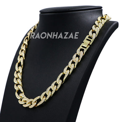 "Hip Hop Fully Iced Mens 12mm Heavy Figaro Chain (Multiple Sizes 9""-36"") - Raonhazae"
