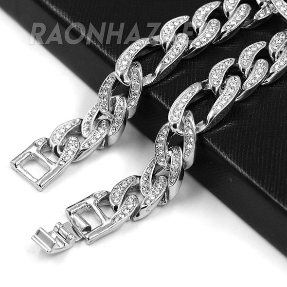 "Hip Hop Fully Iced Mens 12mm Heavy Figaro Chain (Multiple Sizes 9""-36"") Silver - Raonhazae"