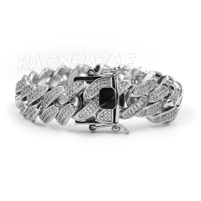 "ICED CUBAN PREMIUM 14K Iced GOLD PLATED SIMULATED DIAMOND 14MM 9"" BRACELET SILVER - Raonhazae"