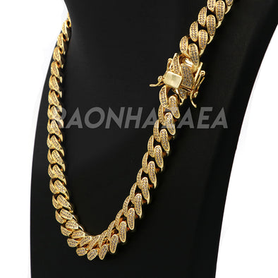 18K Yellow Gold Iced Out CUBAN Miami Chain Link MicroPave Lab Diamond Necklace - Raonhazae