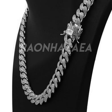 18K White Gold CUBAN Miami Chain Link MicroPave Lab Diamond Necklace - Raonhazae