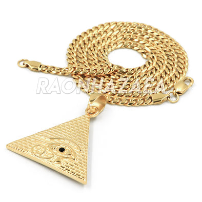 Hip Hop Stainless Steel Gold Eye of Horus on Pyramid Pendant W Cuban Chain / Ankh Ring - Raonhazae